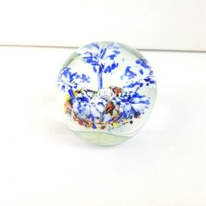 Millifiore Floral Paperweight Flowers Clear Glass